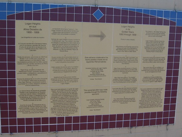 Plaque contains info concerning the many-paneled tile mural, which depicts Logan Heights in its Golden Years, 1900 through 1959.