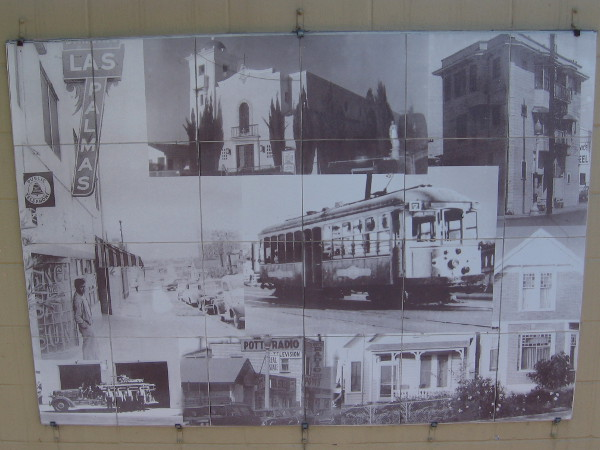 Logan Heights landmarks include the street car at 5 cents per ride, Jack's Island a triangle house, the beautiful earlier architecture of Our Lady of Guadalupe Church and Las Palmas night