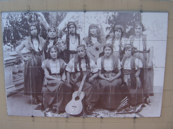 Neighborhood House provided many community programs including Rondalla musical groups for women. Lupita, far right first row, is a legend in Logan Heights.