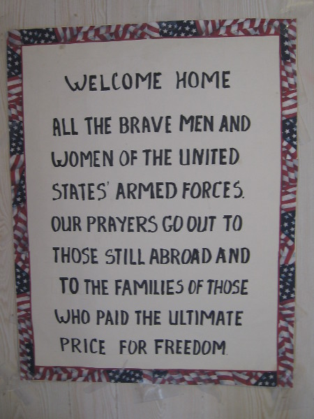 Inside the USA cottage. Welcome home all the brave men and women of the United States Armed Forces.