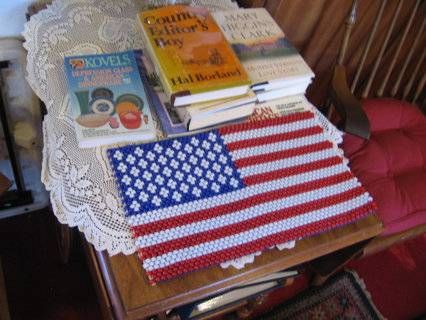 The Stars and Stripes and books concerning Americana.