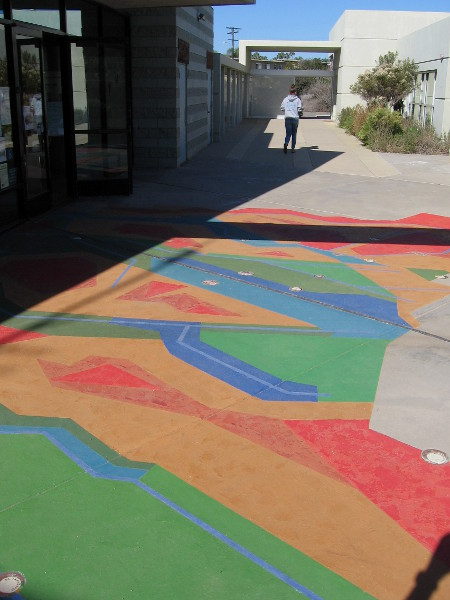 This colorful abstract map at the Visitor Center entrance represents the 1,735 square mile watershed of the Tijuana River, reaching deep into Mexico.