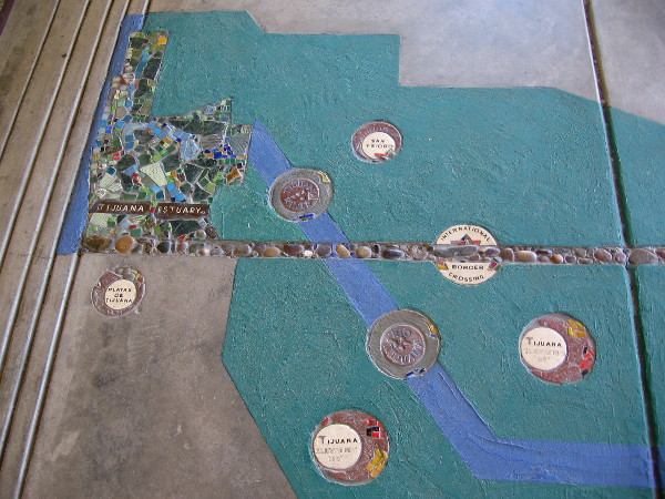 The edge of the map, inside the Visitor Center's door, shows a part of San Diego and Tijuana. As it nears the Pacific Ocean, the Tijuana River crosses into the United States.