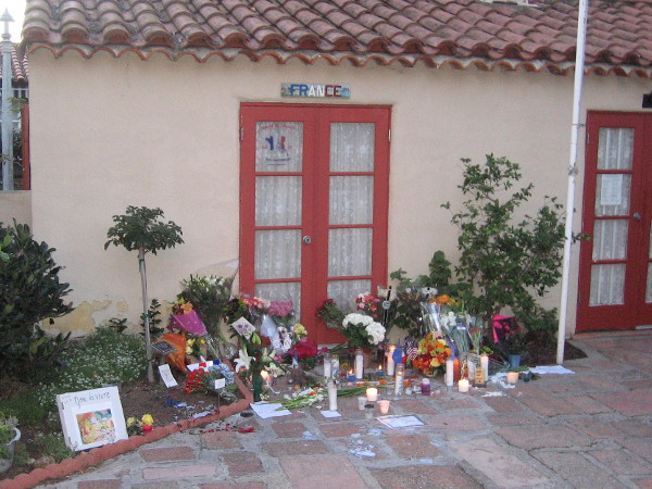 A candlelight vigil was held last night in front of the House of France in San Diego's Balboa Park.