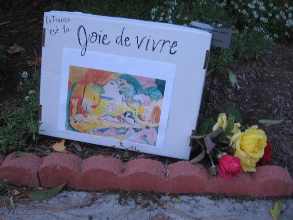La France est la joie de vivre. A memorial for the innocent victims of the Paris terror attack. Hope, love and beauty cannot be conquered.