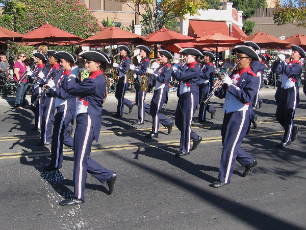 The marching band of Christian High School in El Cajon provides stirring music during the parade.