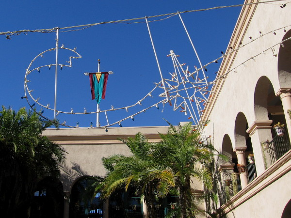 Holiday lights are up in the courtyard of Balboa Park's House of Hospitality.
