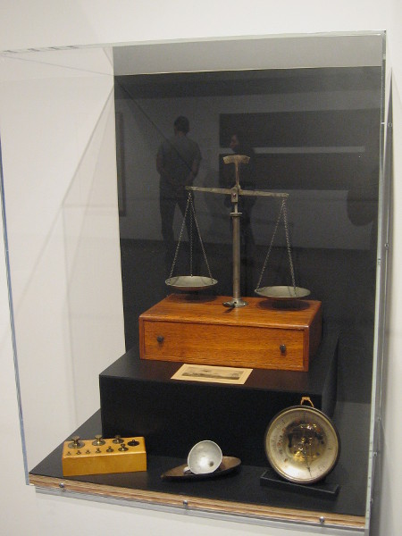Tools of the Rainmaker. The scales, measuring scoops and barometer in this case were donated to the San Diego Library in 1972 by Paul A. Hatfield, brother of rainmaker Charles M. Hatfield.