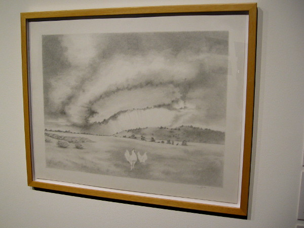 Lisa Hutton, Supercell with Chickens, 2013. Graphite on paper. Environmental artwork depicts storm clouds.