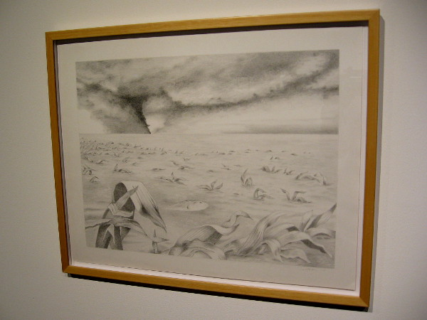 Lisa Hutton, A Flood and a Fire, 2013. Graphite on paper. The catastrophic effects of environmental disasters.