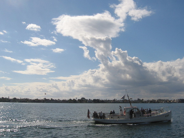 The Maritime Museum of San Diego's historic ship Pilot crosses the bay as white clouds glow gloriously in a blue sky.