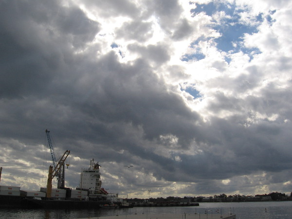 Magnificent clouds the day after Thanksgiving on San Diego's Embarcadero. Visible is a Dole cargo ship at the Tenth Avenue Marine Terminal.