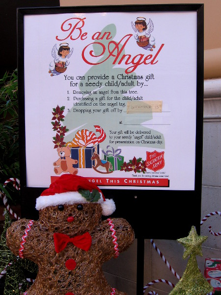Donate to the Salvation Army. Or be an angel to a child this Christmas, by dropping off a gift at the Salvation Army's location in San Diego's popular Fashion Valley shopping mall.