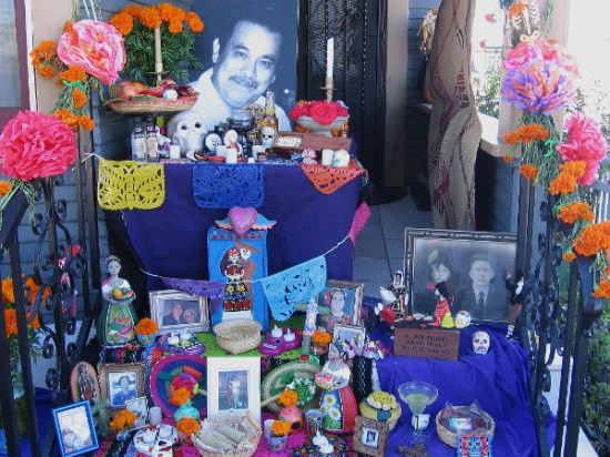 A beautiful outdoor Dia de los Muertos altar in Sherman Heights. An ordinary family cherishes extraordinary memories.