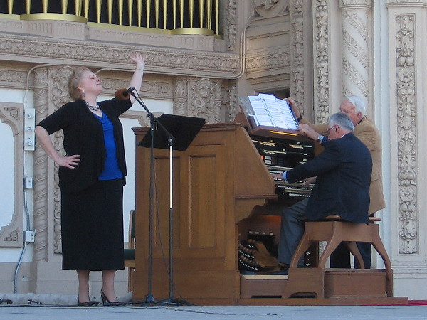 "Patricia McAfee, mezzo soprano, and Robert Plimpton, San Diego Civic Organist Emeritus, perform during A Tribute to Kate Sessions, ""The Mother of Balboa Park"" concert on November 8, 2015."