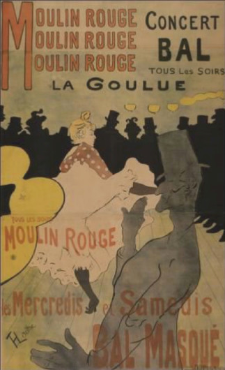 Henri de Toulouse-Lautrec's first poster, Moulin Rouge - La Goulue. Introduced into poster design a bold simplification of form, space and composition learned from Japanese woodblock prints.