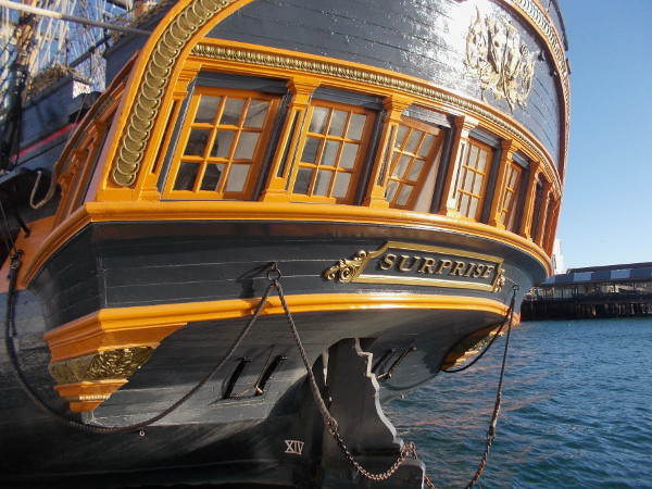 Elegant stern of HMS Surprise, one of many fascinating ships owned by the Maritime Museum of San Diego.
