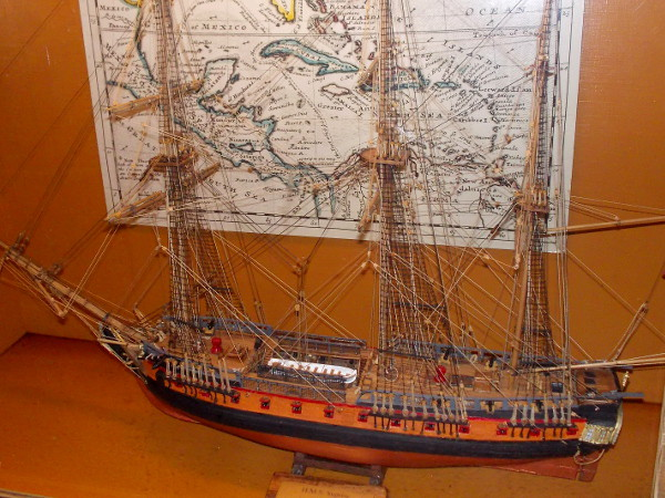 Detailed model of the HMS Surprise, which is the only operating replica of an 18th century frigate in the world. The ship was used in the filming of Master and Commander starring Russell Crowe.