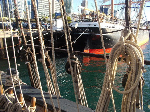 Photo through ropes of the nearby Star of India, the world's oldest active sailing ship, also part of the Maritime Museum of San Diego.