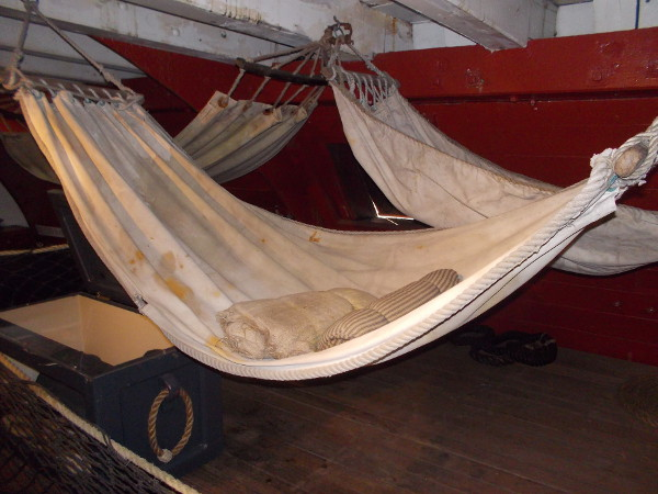 Most of the crew slept below the gun deck in hammocks. Tightly-packed swinging hammocks figured memorably in the visuals of the movie Master and Commander.