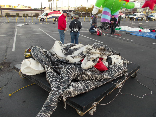 A balloon has been wheeled on a platform across the parking lot, waiting its turn to be inflated.