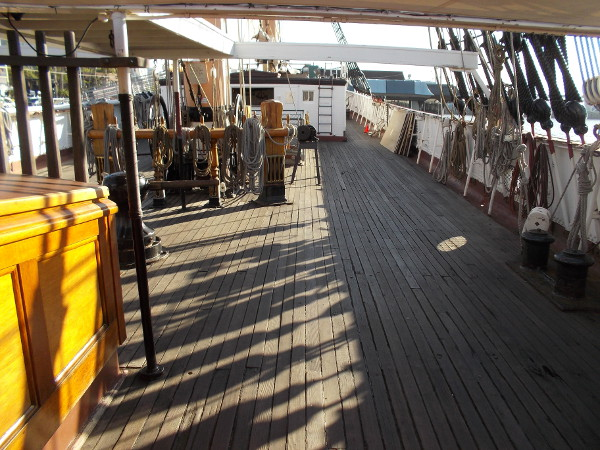 Looking along the length of the main deck of Star of India. Deck replacement is needed and so is the generous help of the public.