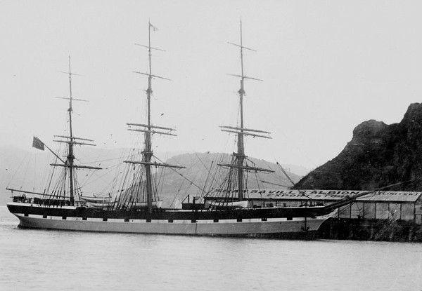 Photo of Euterpe, later renamed Star of India, docked at Port Chalmers, Otago, New Zealand in 1883.