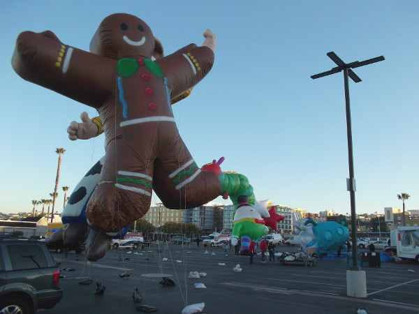 It's a happy gingerbread man rising in the blue San Diego sky!