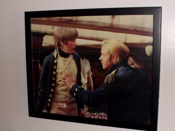 One of several photos on display from the movie Master and Commander: Far Side of the World. Russell Crowe played the role of Captain Jack Aubrey.