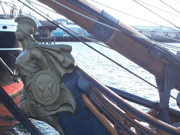 Distinctive figurehead often seen in the popular movie. It now graces San Diego's waterfront.