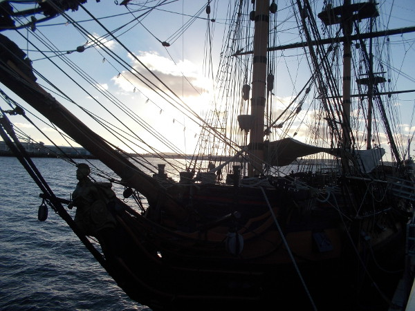 Photograph of the HMS Surprise as evening approaches. One of many wonderful ships that visitors can board at the Maritime Museum of San Diego.