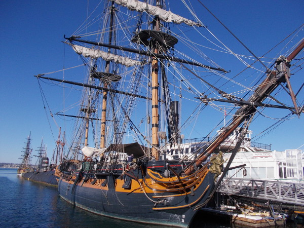 HMS Surprise in some morning sunlight.