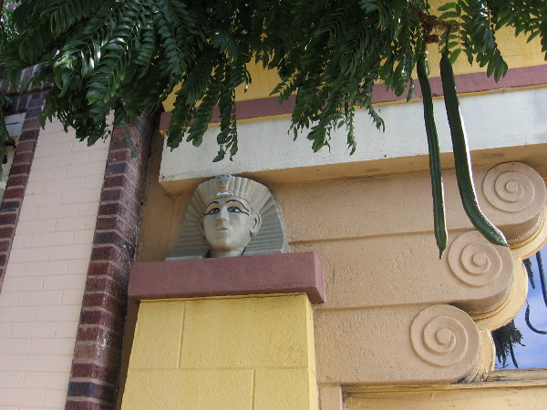 Architectural details on several of the Egyptian Quarter's buildings include pharaohs, scarabs and other surprising designs.