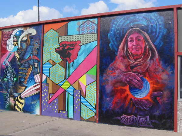 Right panel of awesome North Park mural contains the word Esperanza, which is Spanish for Hope.