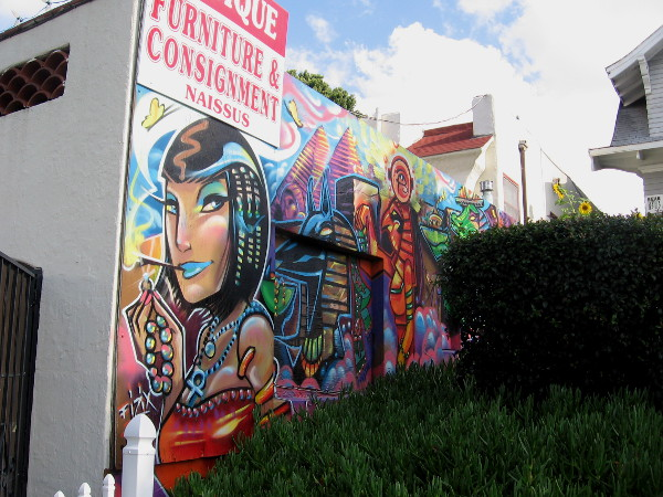 Cool Egyptian-themed street mural recently painted by local graffiti artist Fizix.