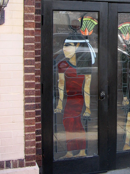 A stylish stained glass door in San Diego's unique Egyptian Quarter.
