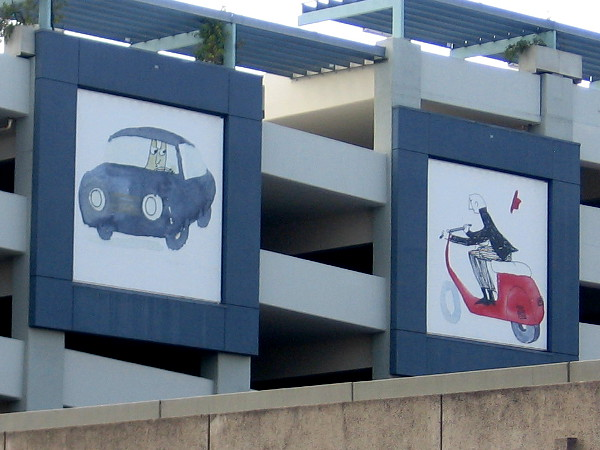 A couple of unique characters out for a drive. Fun murals decorate the sides of North Park's multi-level parking garage.