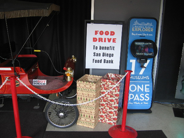 The San Diego Automotive Museum is having a food drive inside their front entrance. Stop on by!