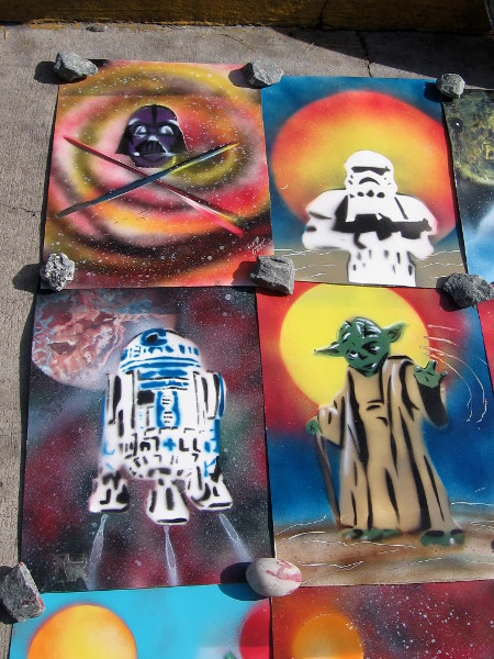 Small, colorful spray paint images include a Darth Vader helmet, an Imperial Stormtrooper, R2-D2 and Yoda.