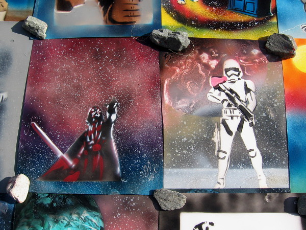 More cosmic, bold spray paint artwork depicts popular Star Wars characters.