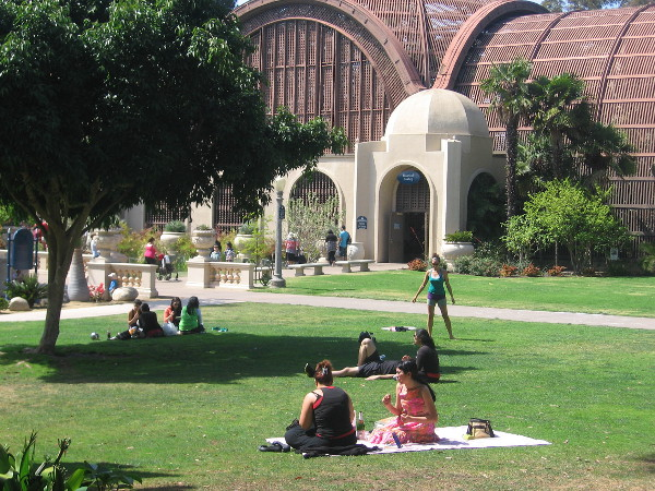 People enjoy the grass near the Botanical Building.