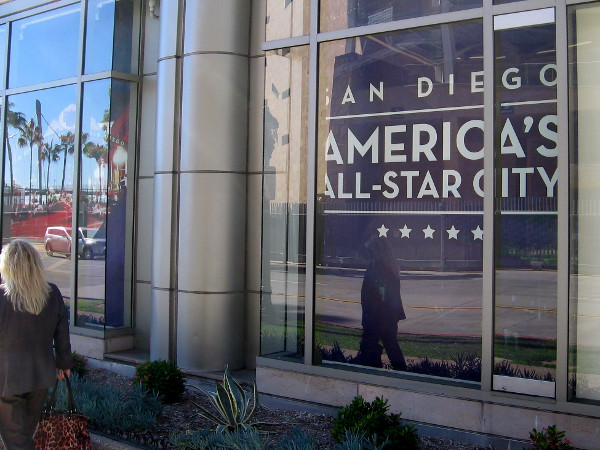 Sign in window of downtown's Omni Hotel, across Tony Gwynn Drive from Petco Park, proclaims San Diego is America's All-Star City.