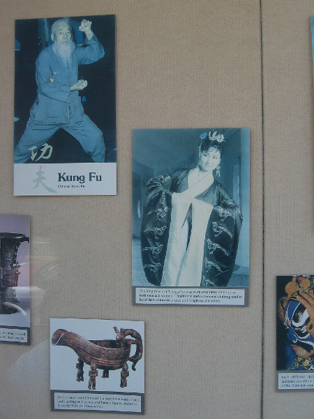 Photographs in this outdoor exhibit show various aspects of Chinese culture.