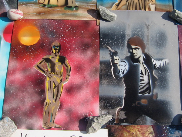 C-3PO and Han Solo in classic Star Wars poses! Awesome!
