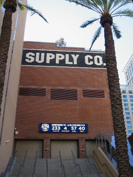 Digital display on Western Metal Supply Co. building at Petco Park, the downtown stadium of the San Diego Padres, counts down the days and hours until the 2016 Major League Baseball All-Star Game.