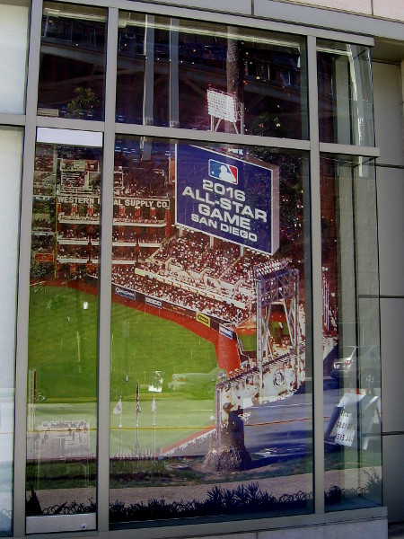 One cool window of the Omni Hotel seems to offer a view into the future, as the 2016 All-Star Game is being played in San Diego.