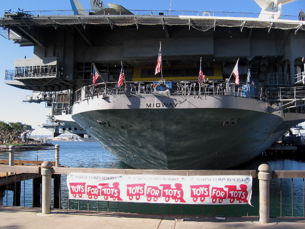 The U.S. Marine Corps Reserve and the USS Midway Museum are collecting toys today at Navy Pier. And Santa will be parachuting several more times! Just for fun, I suppose.