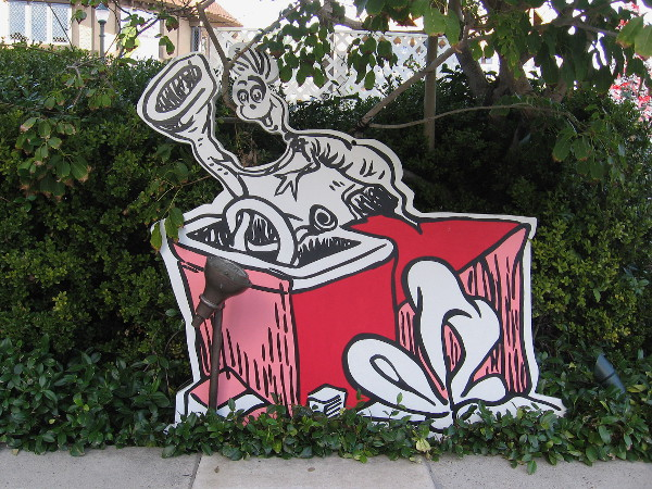 One of many fun images near the Old Globe Theatre that celebrate local author Dr. Seuss' classic book How The Grinch Stole Christmas!