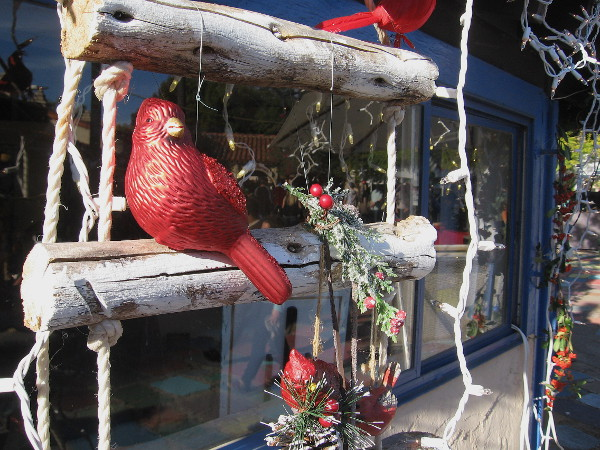 Some fun holiday decorations on an artist studio in Balboa Park's Spanish Village.