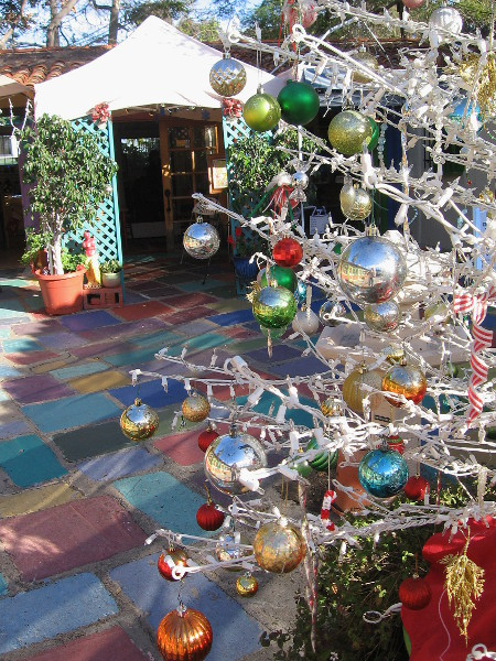 Many glittery, colorful Christmas trees could be seen throughout Spanish Village.